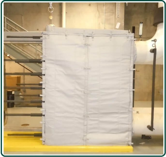 Insulating plate and frame heat exchangers.